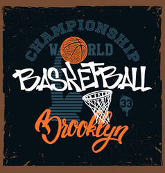 Basketball t-shirt print design for apprel vector