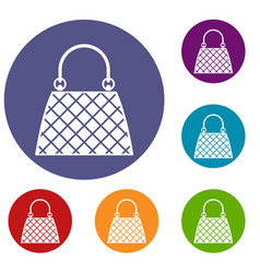 Beautiful bag icons set vector