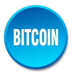 Bitcoin blue round flat isolated push button vector