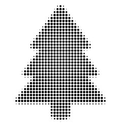 Black dotted fir-tree icon vector