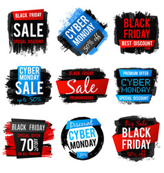 Black friday and cyber monday sale banner with big vector
