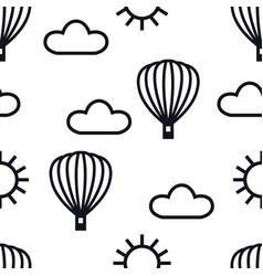 black linear icons hot air balloons clouds vector image