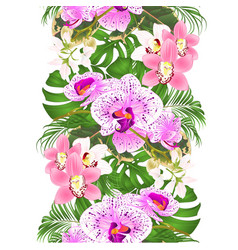 border seamless background with tropical flowers vector image