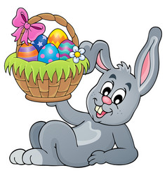 Bunny holding easter basket theme 5 vector