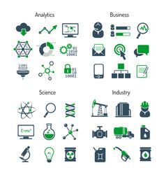 business analytics science and industry icons set vector image