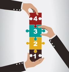 Business people help to assembly vertical puzzle vector