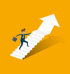 Businessman running up stairway to the top vector