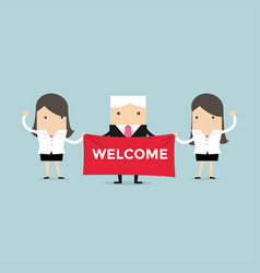 businesswoman and boss holding welcome sign vector image