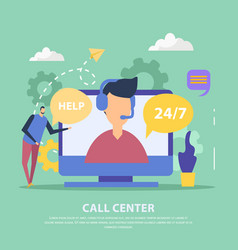 call center flat background vector image