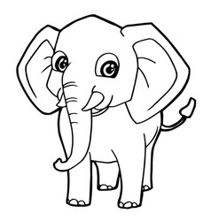cartoon cute elephant coloring page vector image