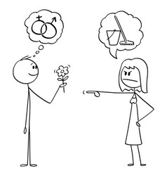 cartoon man holding flowers and hoping in vector image