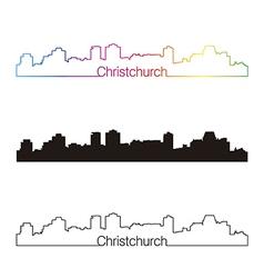 Christchurch skyline linear style with rainbow vector