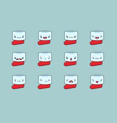 Christmas sock emoji set vector