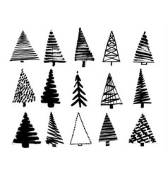 christmas tree sketch set isolated on white vector image