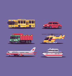 collection includes air land and sea transport vector image