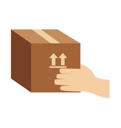 Color silhouette of hand holding sealed packing vector