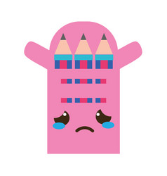 colorful crying and tender colored pencil kawaii vector image