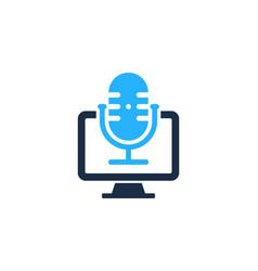 computer podcast logo icon design vector image