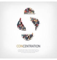 concentration people sign 3d vector image