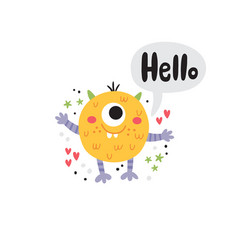 Cute a funny yellow monster vector
