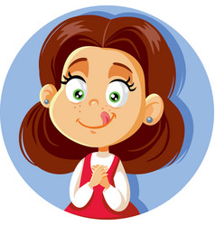 Cute cartoon little girl craving for sweets vector