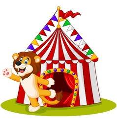 Cute lion waving hand in the front of circus tent vector