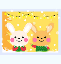 cute rabbits wear an ugly sweater vector image