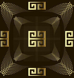 dotted gold 3d greek style seamless pattern vector image