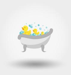 Ducks in bath icon flat vector