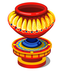Ethnic brightly painted ancient vase isolated vector