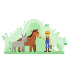 Farmer and livestock horse and donkey farming vector