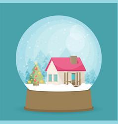 flat christmas snow globe christmas snow globe vector image