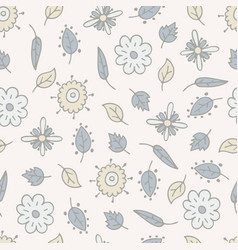 flower hand-drawn seamless pattern vector image