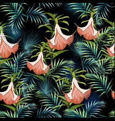 flowers and palm leaves seamless pattern vector image
