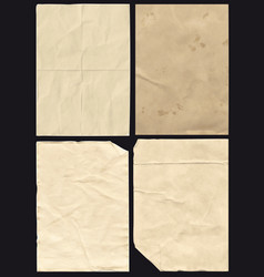 Four crumpled paper texture vector