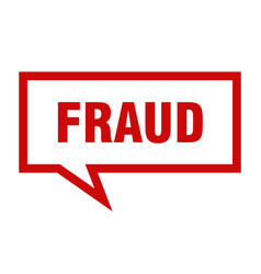 fraud sign fraud square speech bubble fraud vector image