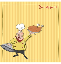 funny cartoon chef with tray of food in hand vector image