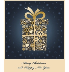 Gift boxe from golden snowflakes vector