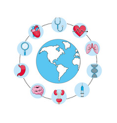 Global planet with stethoscope and syringe vector