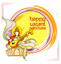 goddess of wisdom saraswati for vasant panchami vector image