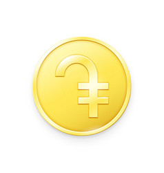 Gold coin with dram sign vector