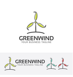 green wind logo design vector image