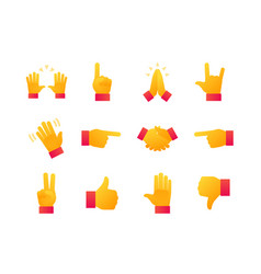 hand signs - modern flat design style icons set vector image