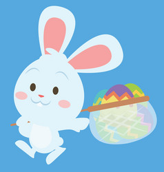 happy bunny with egg style easter theme vector image
