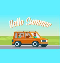hello summer horizontal banner happy family travel vector image