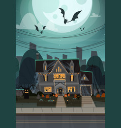 House decorated for halloween home building front vector