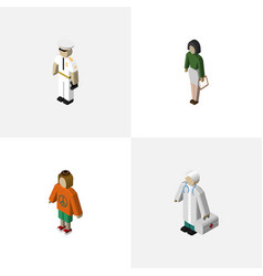 Isometric people set of seaman pedagogue medic vector