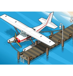 Isometric Seaplane Moored at the Pier in Front vector image