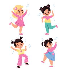 kids dancing children characters dance and sing vector image