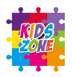 kids zone label with puzzle pieces vector image